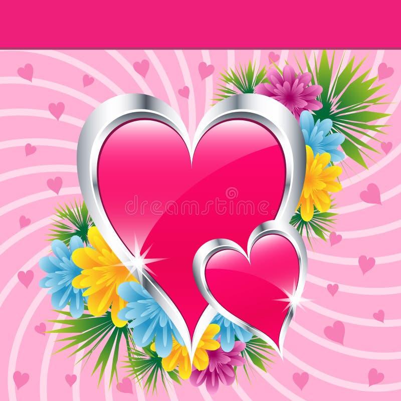 Cuori e fiori dentellare di amore illustrazione vettoriale