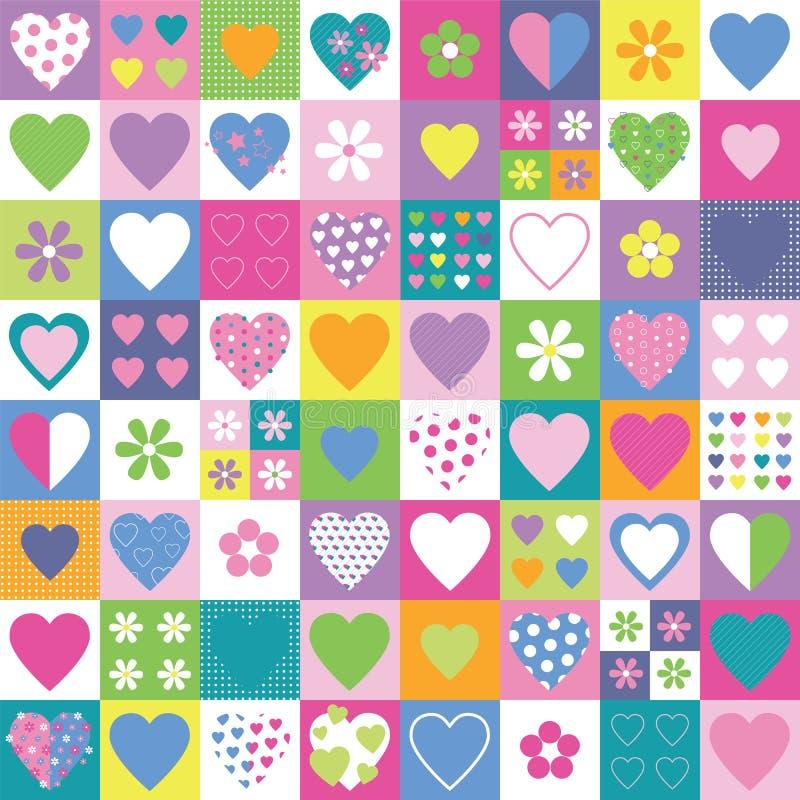 Cuori e fondo adorabili della raccolta dei fiori illustrazione di stock