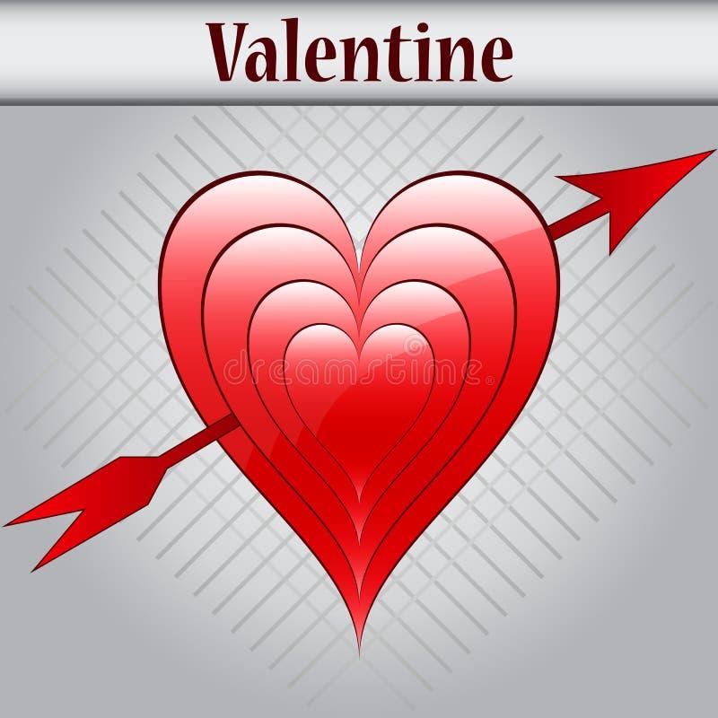 Cuori e freccia di amore del biglietto di S. Valentino royalty illustrazione gratis