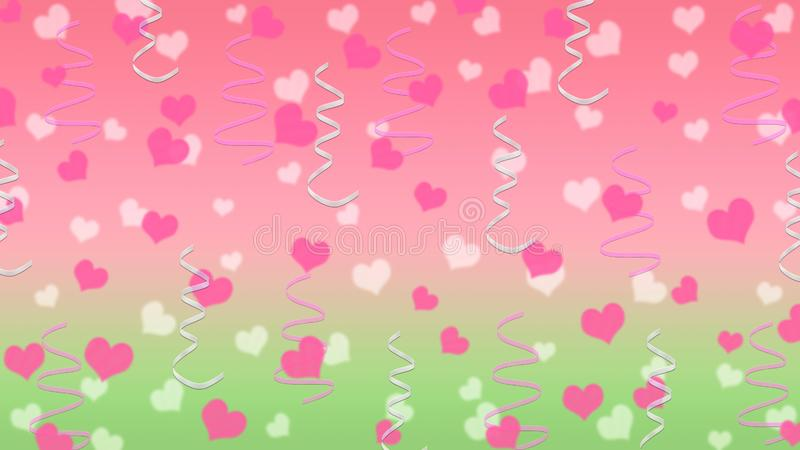 Cuori e nastri astratti nel rosa e nel fondo verde royalty illustrazione gratis