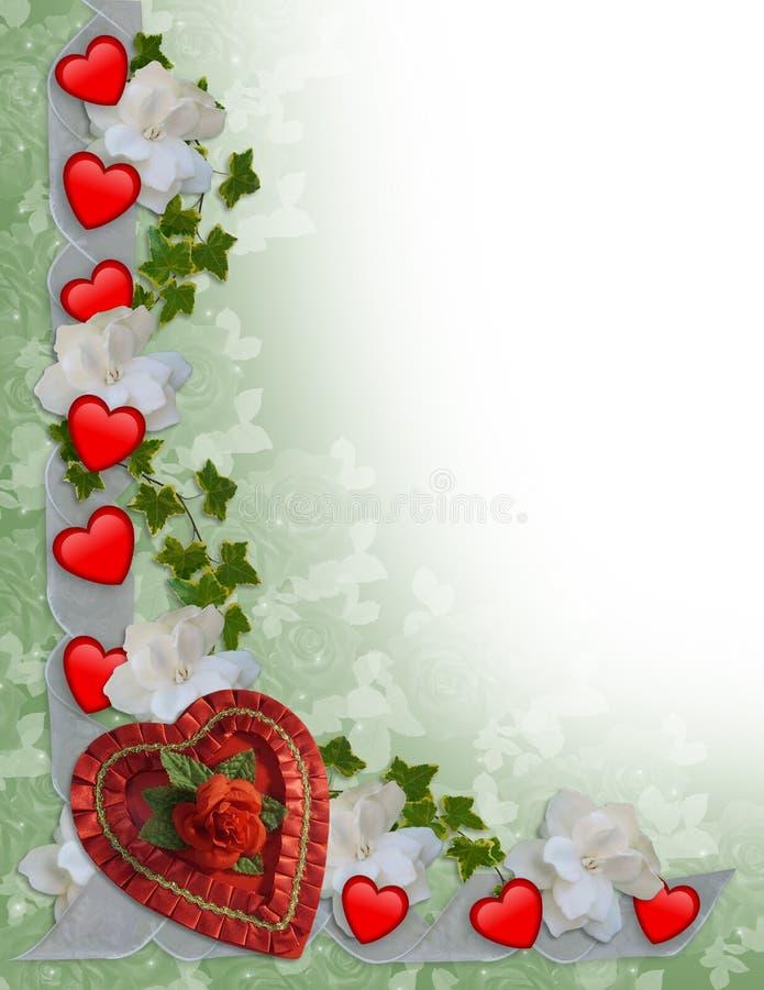 Cuori e nastri del bordo di giorno dei biglietti di S. Valentino illustrazione vettoriale