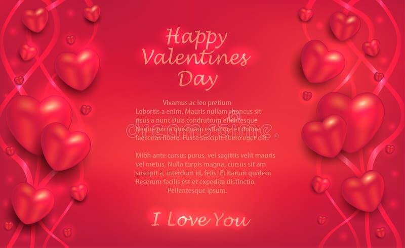 Cuori e nastri su un fondo rosso, cartolina d'auguri al San Valentino per gli amanti illustrazione vettoriale
