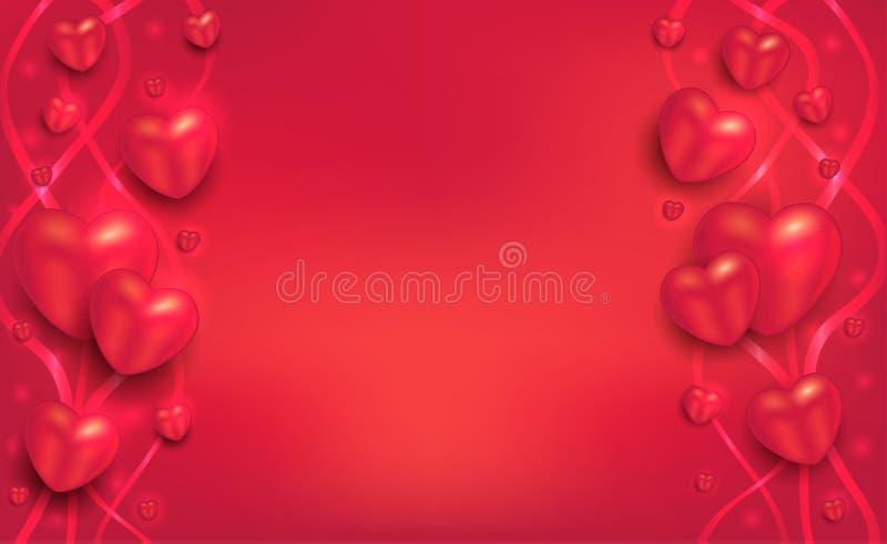 Cuori e nastri su un fondo rosso, cartolina d'auguri al San Valentino per lo spazio in bianco degli amanti royalty illustrazione gratis