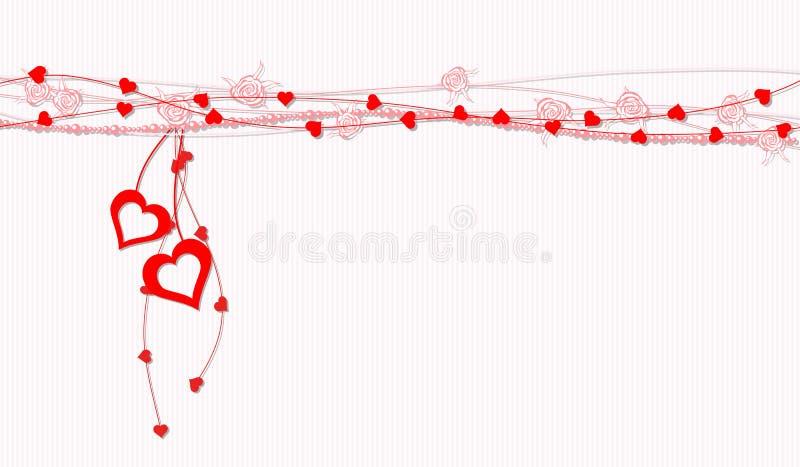Cuori e rose dell'estratto della scheda del biglietto di S. Valentino royalty illustrazione gratis