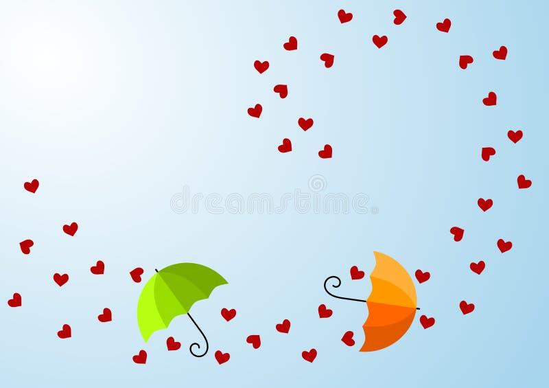 Cuori e scheda ventosi di giorno dei biglietti di S. Valentino degli ombrelli royalty illustrazione gratis