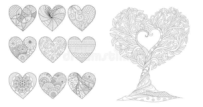 Cuori ed albero di Zentangle per la pagina della carta dei biglietti di S. Valentino o degli inviti e di coloritura del weddin pe illustrazione di stock