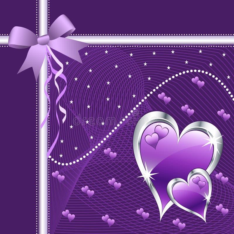 Cuori ed arco viola di amore. illustrazione di stock