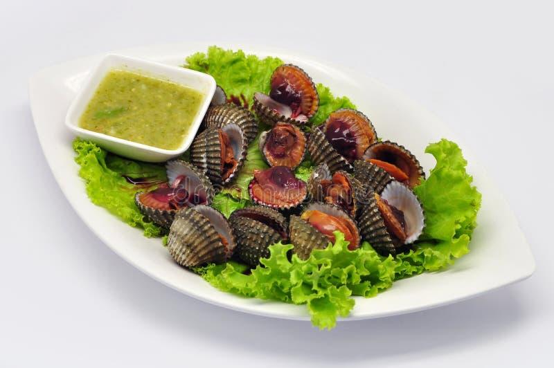 Cuori edule bolliti con la salsa di frutti di mare piccante della immersione su bianco fotografia stock