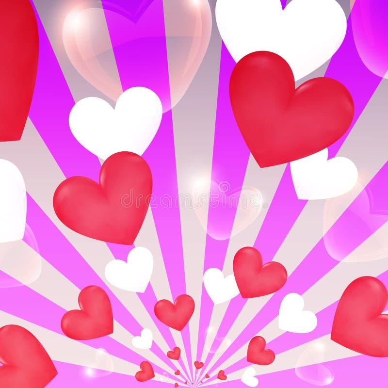 Cuori felici dello sprazzo di sole di rosa di giorno di S. Valentino, insegna volante illustrazione di stock