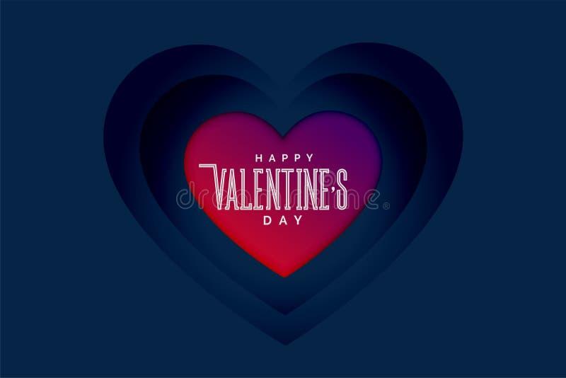 Cuori felici di giorno di biglietti di S. Valentino nello stile di profondità 3d royalty illustrazione gratis