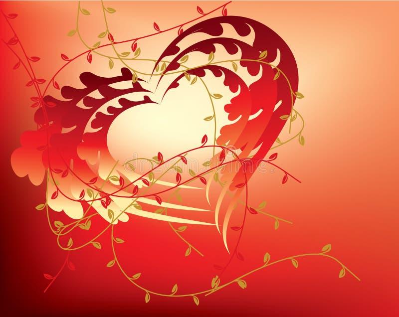 Cuori floreali astratti del biglietto di S. Valentino illustrazione di stock
