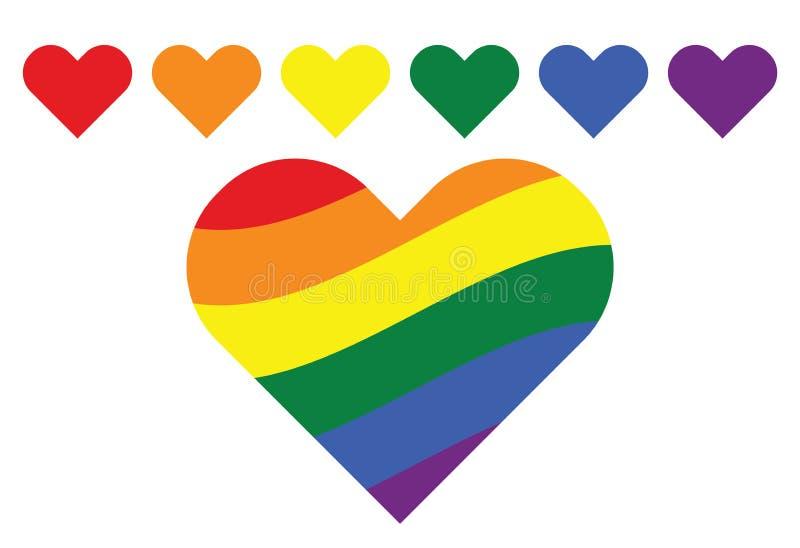 Cuori gay di simbolo dell'arcobaleno di LGBT illustrazione di stock