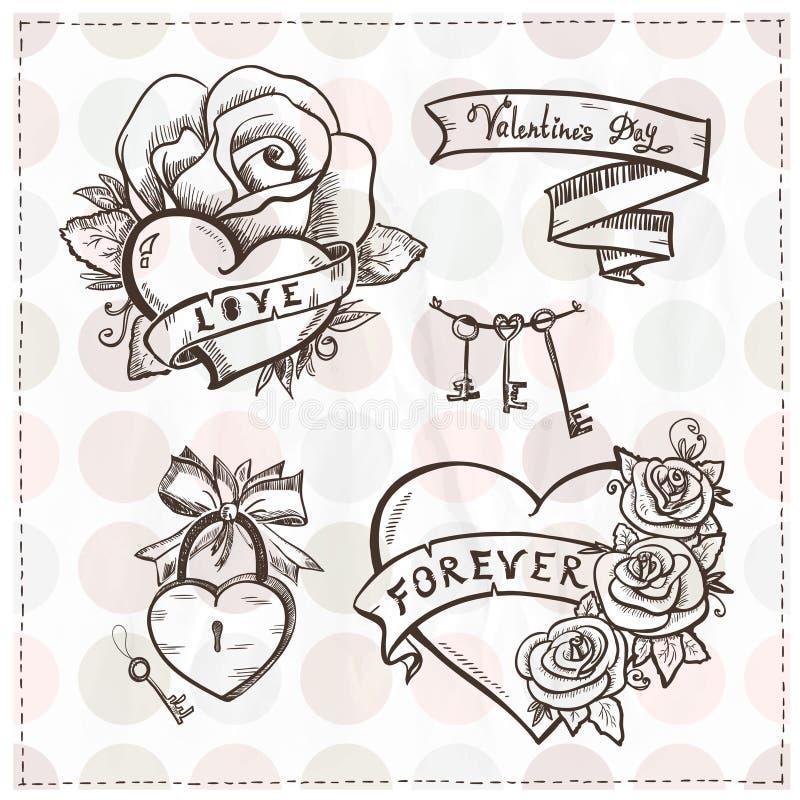 Cuori grafici della vecchia scuola con le rose ed i nastri. illustrazione vettoriale