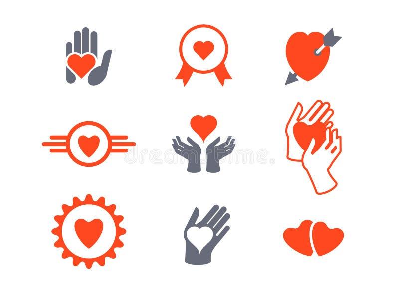 Cuori, insieme dell'icona delle mani Concetto di amore, cura, protezione illustrazione vettoriale