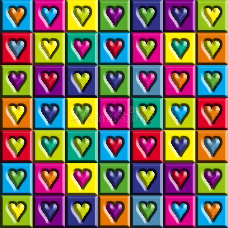 Cuori multicolori illustrazione di stock