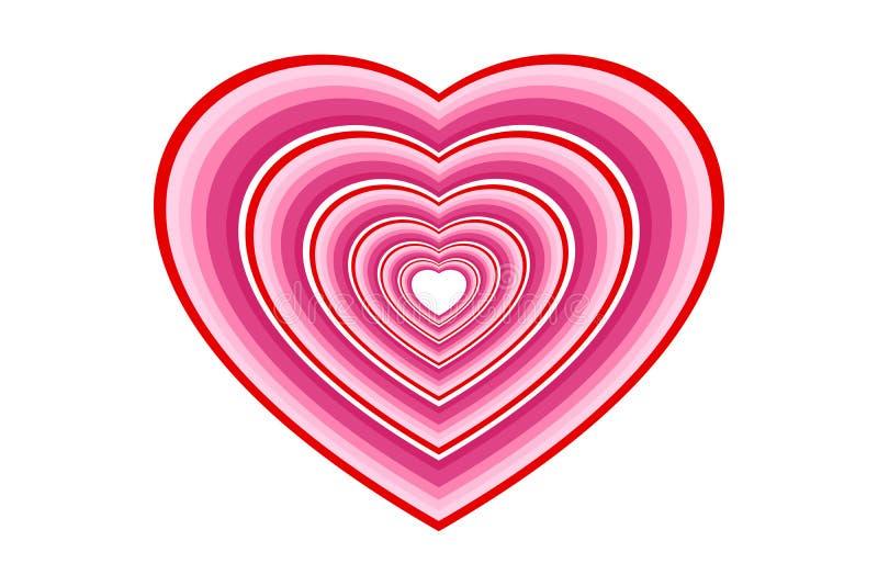 Cuori nel tono rosa a più strati e nei profili rossi Concetti di amore, di romance, di nozze, o del giorno di S. Valentino illustrazione vettoriale