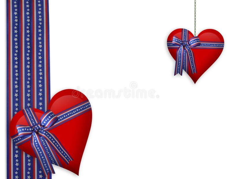 Cuori patriottici del biglietto di S. Valentino illustrazione di stock