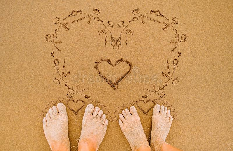 Cuori romantici di amore nel giorno di biglietti di S. Valentino fotografie stock libere da diritti