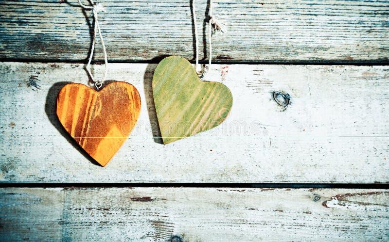 Cuori romantici rustici immagine stock