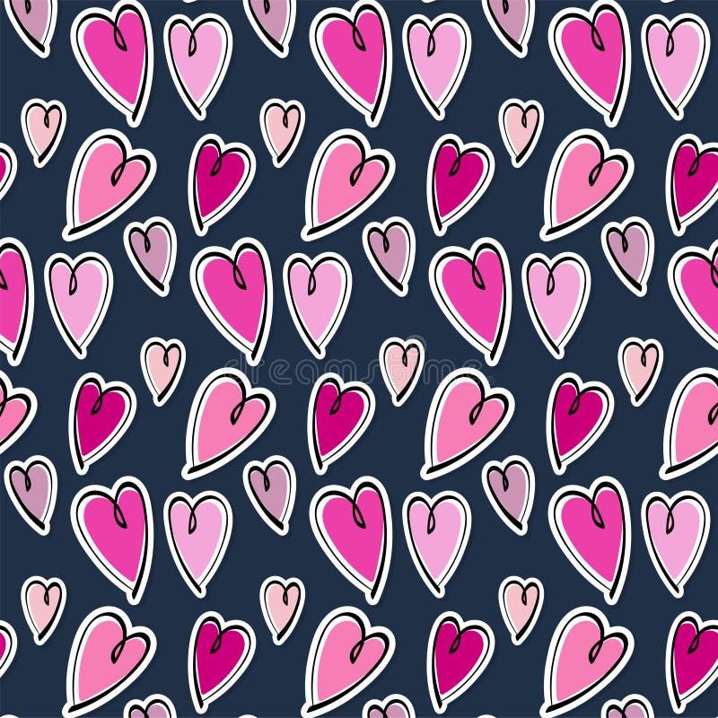 Cuori romantici svegli valentine' fondo del modello di giorno di s fotografia stock libera da diritti