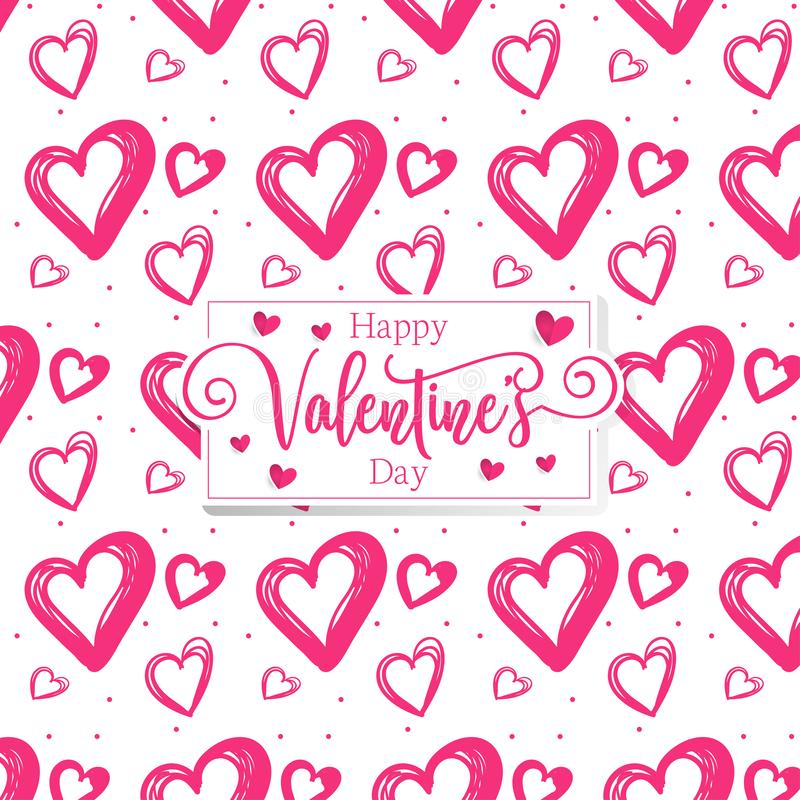Cuori romantici svegli valentine' fondo del modello di giorno di s immagini stock