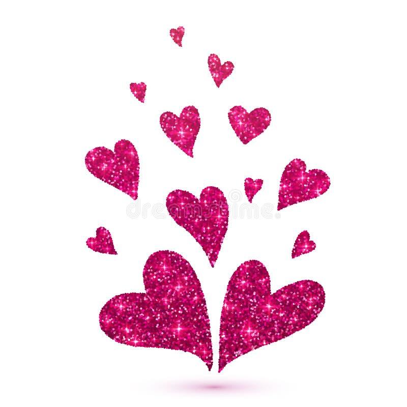 Cuori rosa di scintillio isolati a fondo bianco illustrazione di stock
