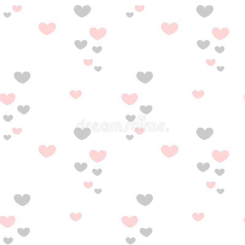 Cuori rosa e grigi romantici adorabili svegli sull'illustrazione senza cuciture del modello del biglietto di S. Valentino bianco  illustrazione vettoriale