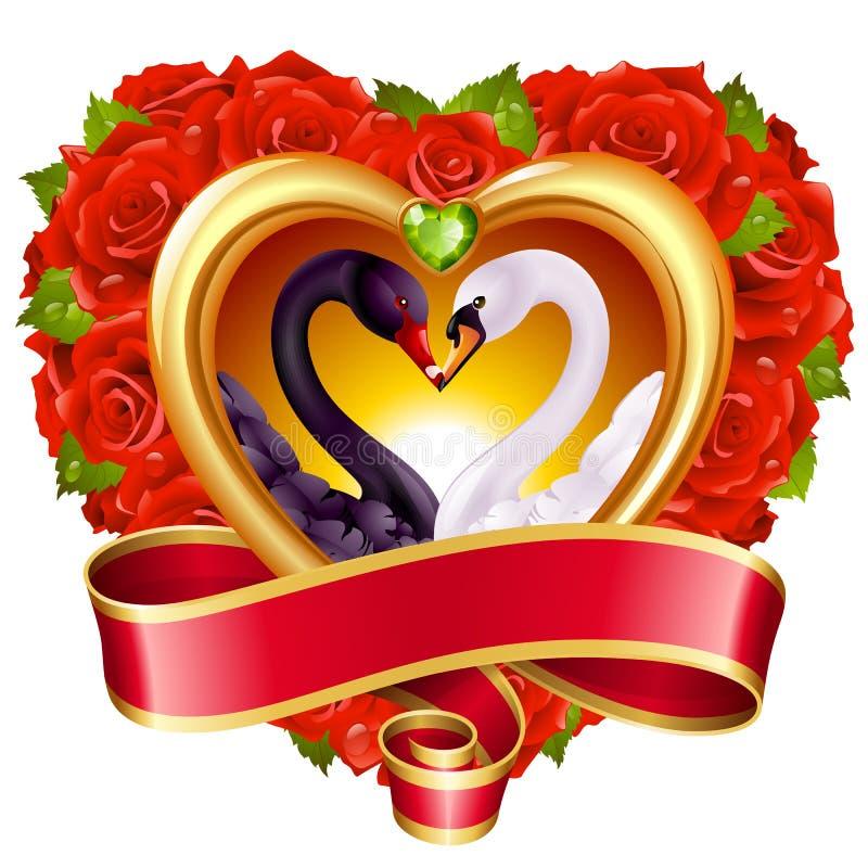 Cuori, rose e cigni illustrazione vettoriale