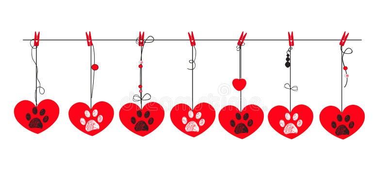 Cuori rossi con le stampe bianche e nere della zampa Cartolina d'auguri felice di giorno del `s del biglietto di S illustrazione di stock