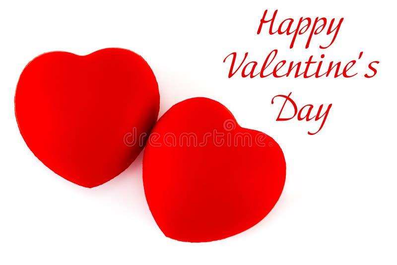 Cuori rossi con testo: giorno felice del ` s del biglietto di S. Valentino su un backgrou bianco fotografia stock libera da diritti