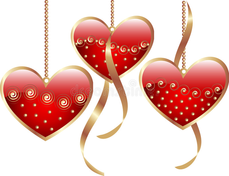 Cuori rossi del biglietto di s valentino illustrazione for Immagini di cuori rossi
