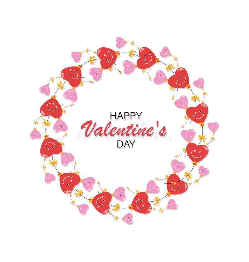 Cuori rossi e rosa Cornice rotonda, corona, biglietto da visita per San Valentino illustrazione di stock