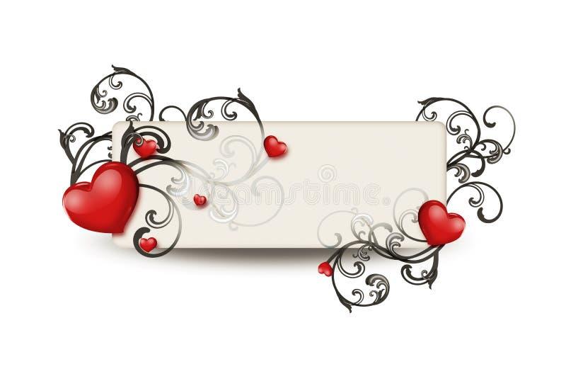 Cuori rossi ed ornamento floreale illustrazione vettoriale