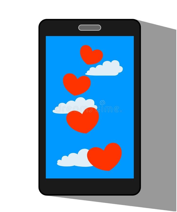 Cuori rossi felici degli amanti di volo sull'esposizione del telefono cellulare illustrazione vettoriale