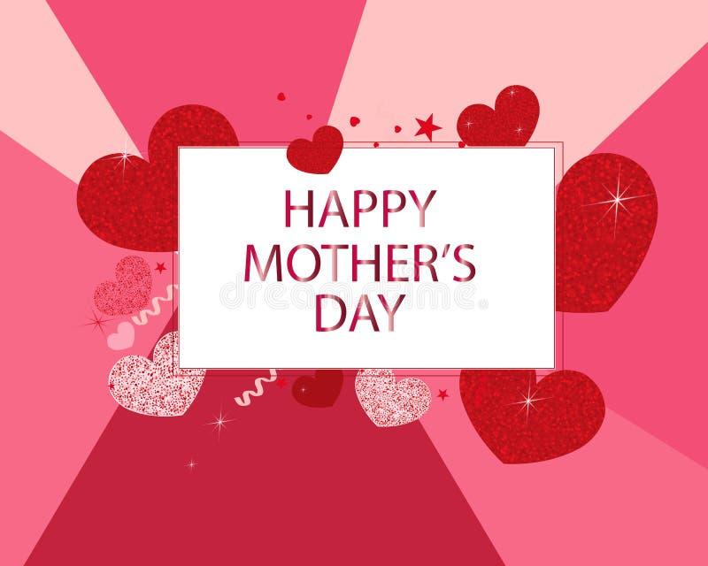 Cuori scintillanti brillanti rossi divertenti Fondo rosa e rosso Cartolina d'auguri felice di giorno del ` s della madre illustrazione di stock