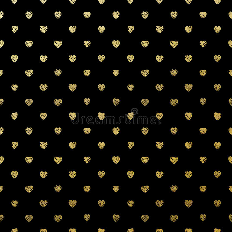 Cuori senza cuciture dell'oro sul nero ENV 10 illustrazione di stock