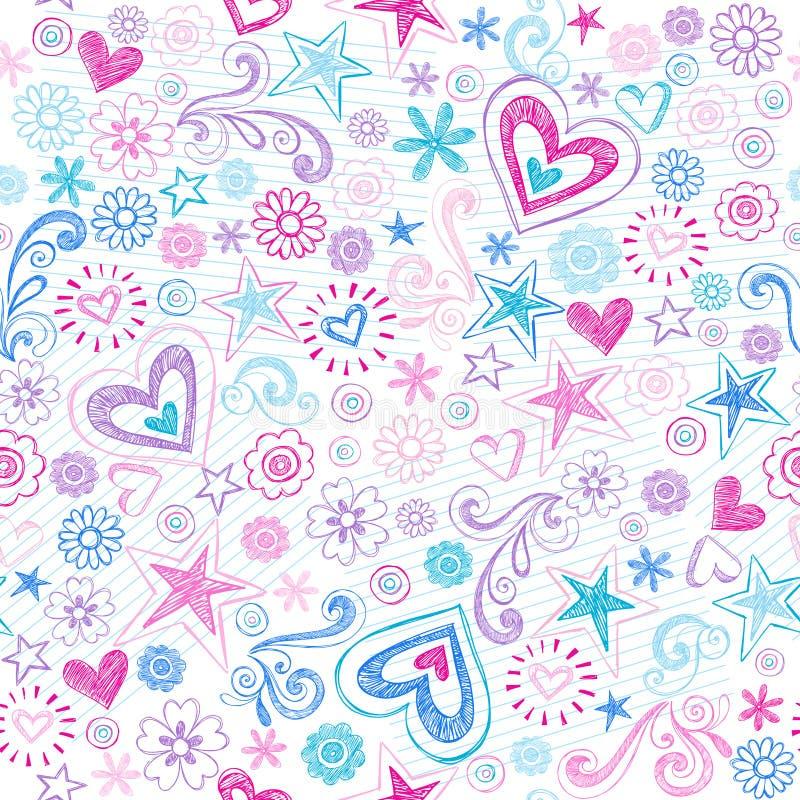 Cuori senza giunte & reticolo impreciso di Doodles delle stelle illustrazione vettoriale