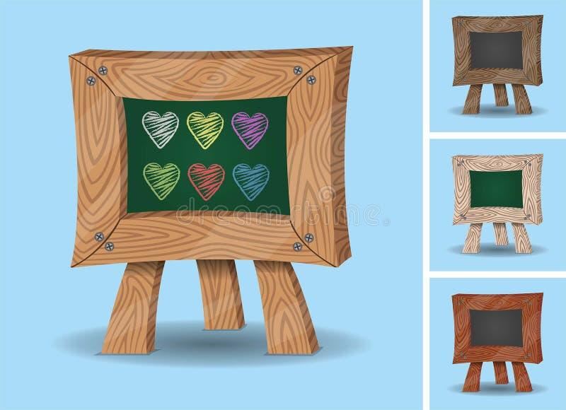 Cuori su Mini Chalkboard - di legno illustrazione di stock