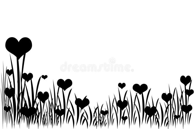 Cuori sull'erba, nero-bianca royalty illustrazione gratis
