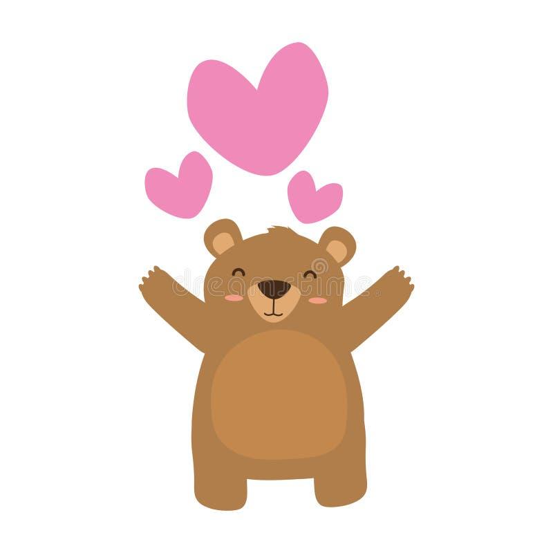 Cuori svegli di amore dell'orso illustrazione di stock