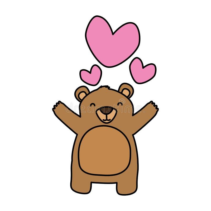 Cuori svegli di amore dell'orso illustrazione vettoriale