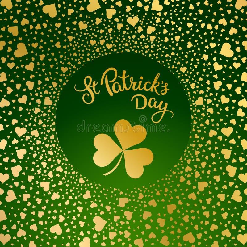 Cuori, trifogli e giorno d'iscrizione originale della st Patricks royalty illustrazione gratis