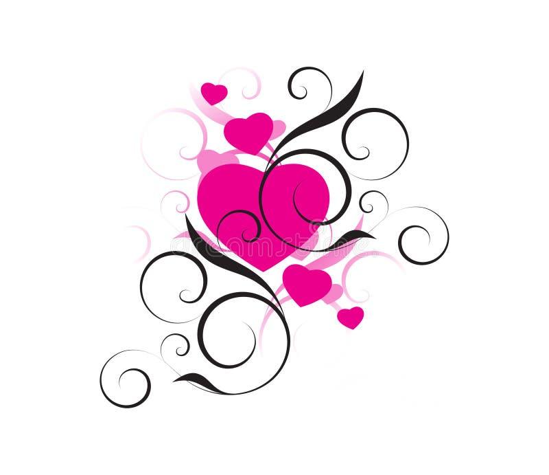 Cuori turbinati del biglietto di S. Valentino royalty illustrazione gratis