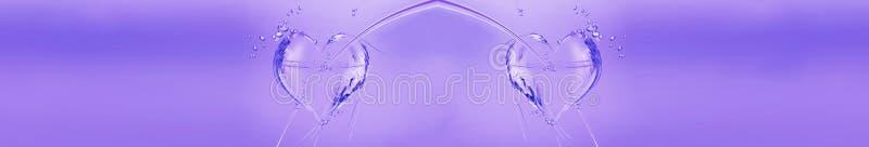 Cuori viola dell'acqua immagini stock