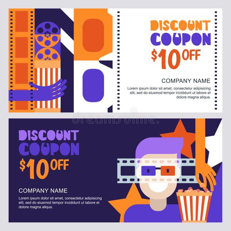 Cupón del descuento del cine del vector o plantilla del vale Diseñe los elementos para el aviador de la película, el boleto de la ilustración del vector