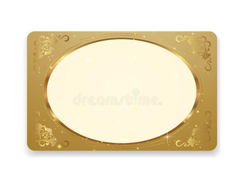 Cupón del regalo del oro, regalo/negocio/tarjeta del descuento  ilustración del vector