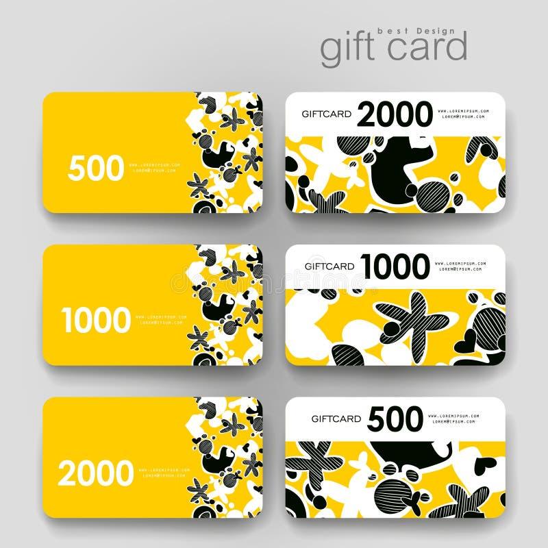 Cupón del regalo, plantilla de la tarjeta del descuento con el extracto stock de ilustración
