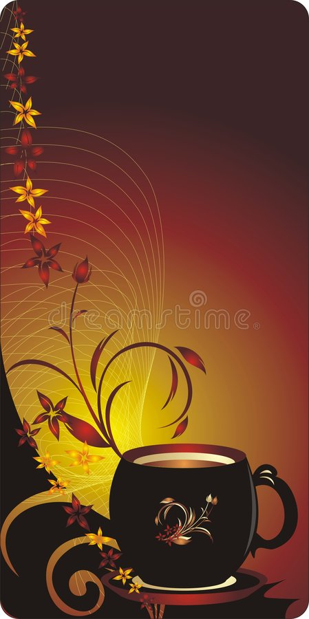 Free Cup And Bouquet Of Flowers. Decorative Banner Royalty Free Stock Images - 8562489