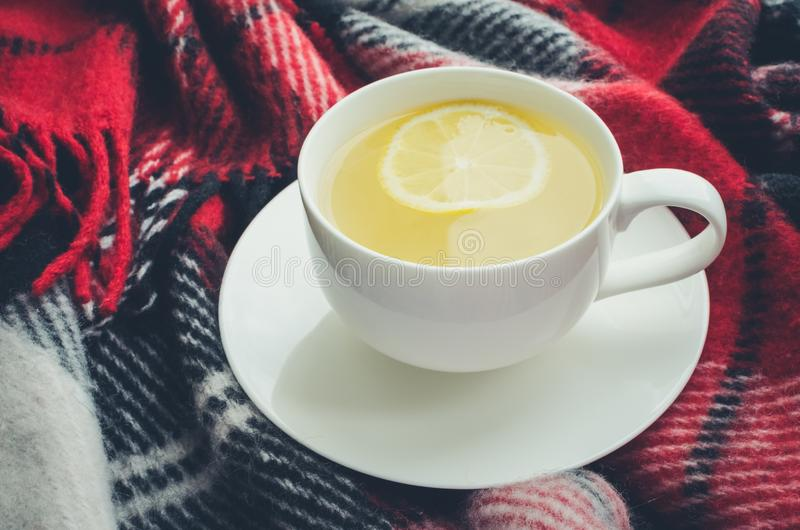 Cup of autumn tea. Cup of tea with lemon on red warm woolen blanket. Hot drink for cold rainy days. Danish hygge concept, autumn mood. Cozy winter morning at royalty free stock photos