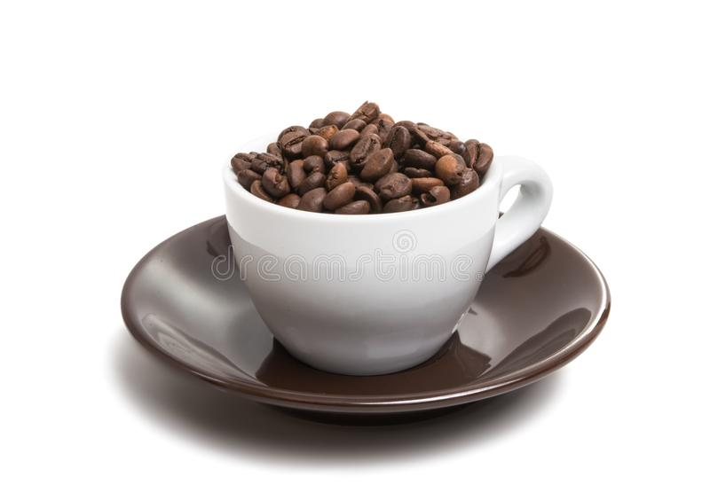 Cup with beans coffee. On white background stock images